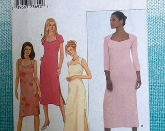 1990s Simplicity 9048 Sewing Pattern Ladies Misses Maxi Dress Sweetheart Portrait Neckline Sleeveless Side Slit Size 6-8-10-12-14-16