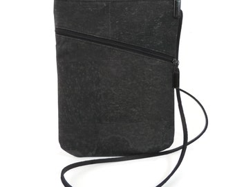Black Crossbody Purse in Lightweight and Eco Friendly Vegan Cork