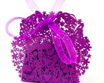 Butterfly Wedding Favor Boxes - Purple (25)