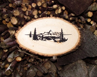 S A L E ** Mountain Range Wooden Plaque