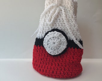 Hand crocheted Pokemon bag pokeball bag