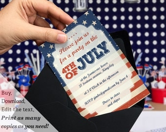 Printable 4th of July Party Invitation Template in Stars and Stripes