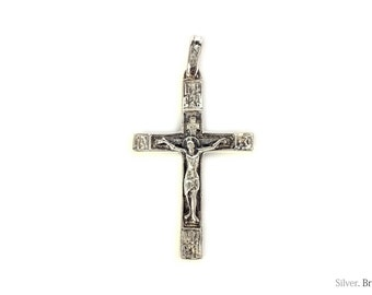 Jesus Cross/Solid 925. Sterling Silver, Russian Greek Orthodox Pendant Crucifix