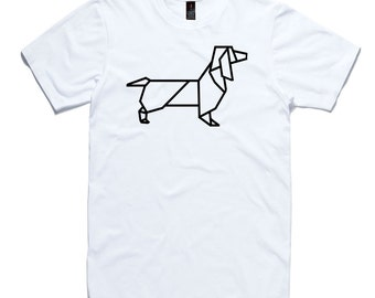 Dachshund Origami T-Shirt by RockPaperHeart in black or white sausage dog mens and womens