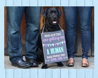 Guard Dog Pregnancy Announcement Chalkboard Poster | Dog on Duty Pregnancy Reveal | Human | Big Bother | Pet Pregnancy | *DIGITAL FILE*