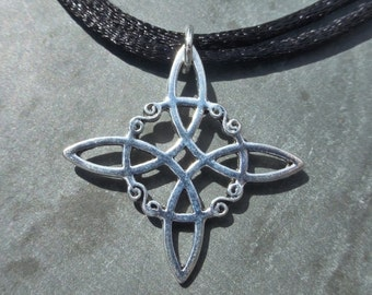 Silver Quaternary Knot Pendant With Adjustable Double Cord Choker Necklace - Celtic Knot - Witch - Pagan - Wiccan