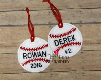 Baseball Ornament - Custom Baseball Felt Ornament - Personalized Baseball Ornament - Baseball Team Gift - Baseball Coach Gift