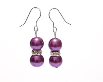 earrings, pearl earrings, purple earrings, dangle earrings, bridesmaid earrings, drop earrings, purple earrings, beaded earrings