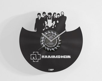 Rammstein wall clock from upcycled vinyl record (LP) | Hand-made gift for music lover | Rammstein fan home decor gift / birthday present