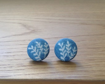 Handmade scandi- style vine fabric button earrings. Hypoallergenic steel posts.