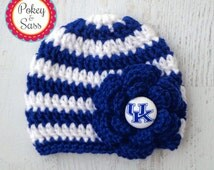 University of Kentucky Striped Flower Crochet Baby Toddler Hat Beanie, Blue and White