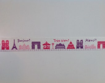 """Washi Tape By The Meter (39"""") - Paris Attractions Sightseeing Vacation - Touriste - Washi Papier Japonais FREE shipping with other purchase"""