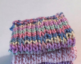 Miniature Faux Shelf Blankets - Shabby Chic Hand Knitted - Stack of 3 -Mulit, Pink, Lavendar