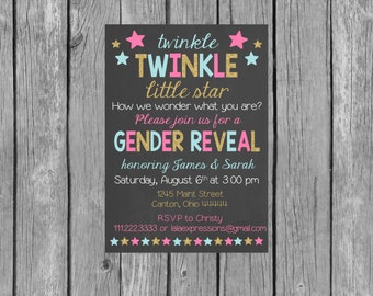 Twinkle Twinkle Little Star Gender Reveal Party Invitation - Gender Reveal Invitation