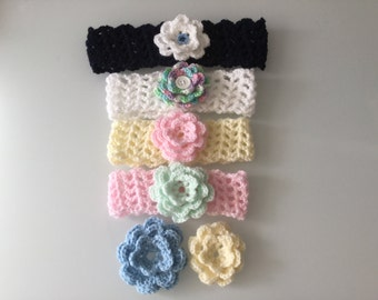 Newborn headband with 2 flowers- baby headband - toddler headband - girl headband