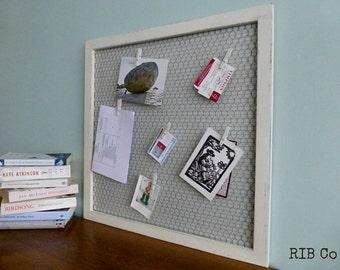 Notice Board Memo Board Pin Board Alternative. Hand made peg board - Botanical Blue Stripe