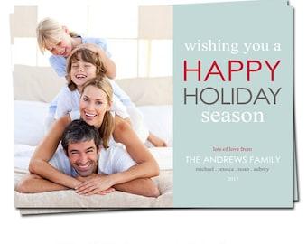 Holiday Photo Card - Christmas Photo Card - Holiday Printable Card - Wishing you a Happy Holiday Season