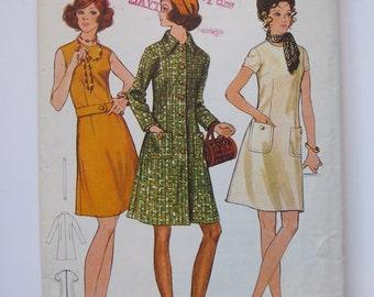 Vintage Dress & Coat Pattern, 1970s, Bust 36, Butterick 5909, Semi Fitted , Uncut FF