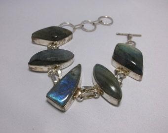 Lovely Labradorite 925 Sterling Silver Bracelet