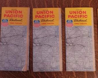 Five 5 U.P. UNION PACIFIC Railroad Public TIME Tables 1960,1961, 1962, 1963, 1965