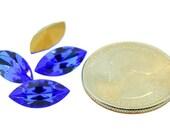 Lot of 4 Genuine Swarovski Art 4200/2 Navette TTC Table Cut Rhinestones 15x7mm Sapphire Blue Pointed Back