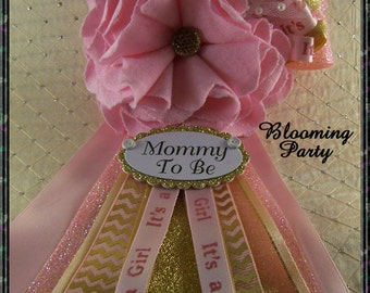 Pink And Gold Mommy To Be Corsage Pink And Gold Baby Shower Corsage Pink  And Gold