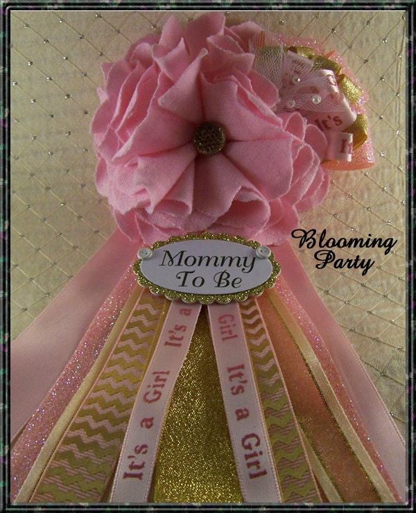 pink and gold mommy to be corsage pink and gold baby shower