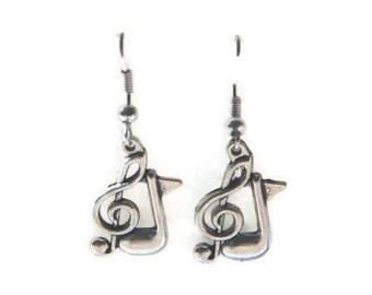 Music Note Earrings, Treble Clef Earrings, Treble Clef Jewelry, Musician Earrings