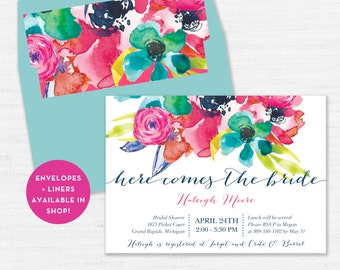 Flower Wedding Shower Invitation, Bright Watercolor Bridal Shower Invitation, Here Comes the Bride to be, Modern Bridal Invite, ALICE