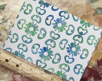 """Pattern Flora in Blue-Green - 5""""x7"""" Watercolor Painting"""