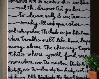 Somewhere Over the Rainbow Lyric Painting 16x20