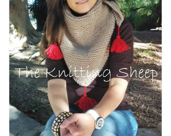 Merino Cowl, Hand knitted cowl, Cowl with tassels, Handmade wrap, Handknit cowl, Cowl knitted with wool, Wool scarf, Handmade cowl