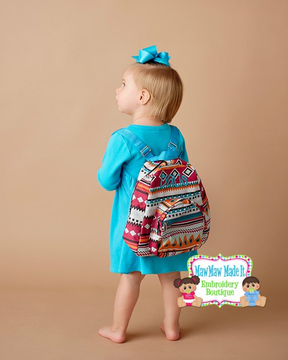 Monogrammed Mini Toddler Backpack Aztec Print with Bright