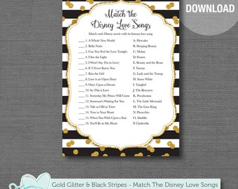 Gold Glitter and Black Stripes Match The Disney Love Songs Bridal Shower Game Printable, Instant Download, Bachelorette Party, Lingerie, 9G