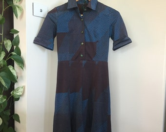 Cute Button Down Dress, Blue, Black, Green, Fully Lined, Collar, Size Extra Small XS