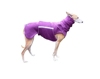 Greyhound / Whippet Fleece Dog Coat with underbelly protection - Fleece Dog Jacket - Fleece Coat + turtleneck / snood - MADE TO ORDER