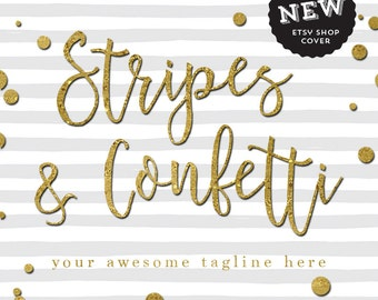 Etsy Shop Banner Set  Stripes and Gold Confetti  Shop Cover  Avatar  Listing Image  Shop Icon  Event Branding