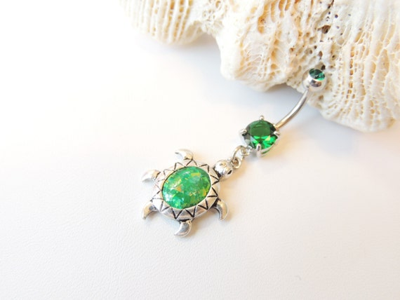 turtle belly button ring with emerald green synthetic opal