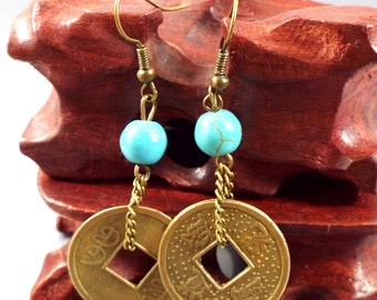 Earrings with Antique Chinese lucky coin with turquoise hearts or ball.