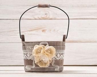 Wedding Flower Girl Basket Wedding Bucket Rustic Flower Girl Basket Wedding Basket Bridal Basket Flower Bucket Flower Girl Pail