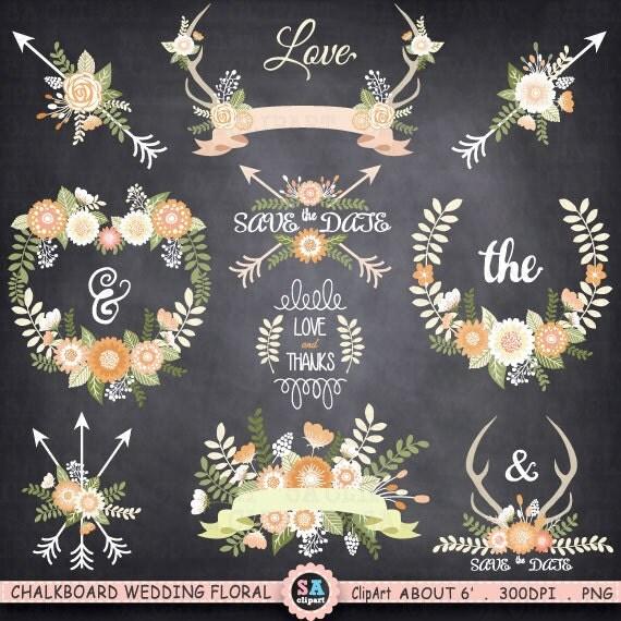 "Flower Wall Decor Reversible Mosaic With Chalkboard: Chalkboard Wedding Floral ClipArt ""WEDDING FLORA"" Rustic"
