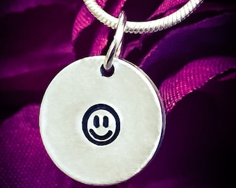 Smiley Face Hand Stamped Necklace / Pendant. Cute Necklace, Smiley Necklace, Smiley Face Necklace, Happy Face Necklace, Charm Necklace