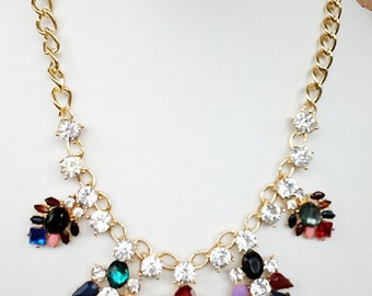 Multi Colored  Crystal Clear Statement Necklace with Gold Chain /Bib Necklace.