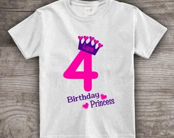 4th Birthday princess shirt crown t-shirt girls personalized 1, 2,3,4 princess theme - a475