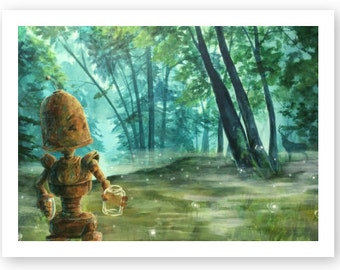 Misty-Bot robot painting print