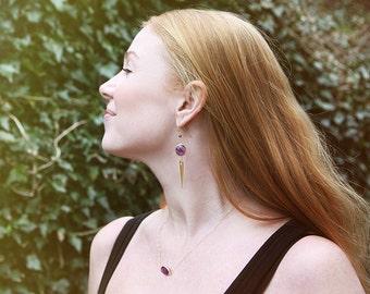Amethyst and gold-plated spike Drop earrings // statement earrings // dangle earrings