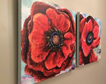 Diptych wall art, bold red floral poppy art pair  FREE SHIPPING
