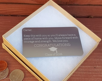 Personalized Metal Wallet Card, Custom Wallet Insert, Engraved Wallet Card: Graduation Gift for Men, Graduation Day