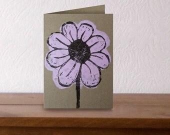 Flower original lino cut. Lino print. Kraft card.