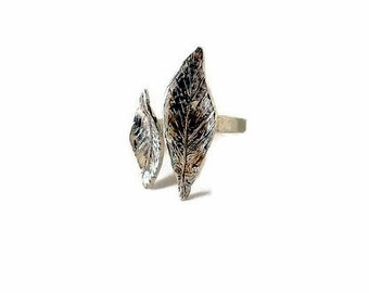Leaf ring, Botanical ring, Silver leaf ring, Open ring, Thin band ring, Sterling silver rings, Leaf stacking ring, woodland ring, Stackable
